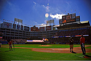 2010 American League Division Series - Neal McCoy performs the national anthem prior to the game.