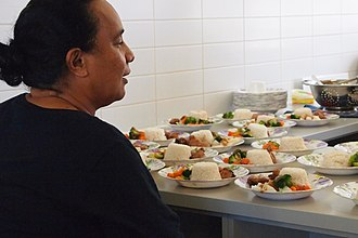 School meal - The principal of Nauru Secondary School inspecting school lunches (2012)