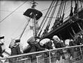 Navy Officer Candidates Live Aboard Nelson's Ship. 4 February 1943, Portsmouth, 50 Naval Commission and Warrant Candidates Are Living on the Same Messdeck As Nelson's Men of Trafalgar. HMS Victory Is Being USED A14559.jpg