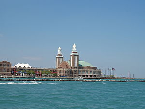 WCFL (AM) - Navy Pier, where WCFL's first transmitter was located. The Downers Grove site went into operation in 1932.