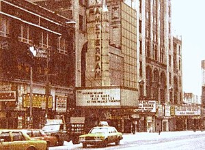 New Amsterdam Theatre - The crumbling, vacant theatre and surrounding buildings in 1985 before the renovation of 42nd Street