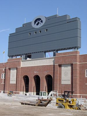 Kinnick Stadium - The new scoreboard in the south end zone at Kinnick Stadium.