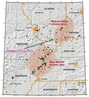 1968 Illinois earthquake - Image: New Madrid and Wabash seizmic zones USGS mod