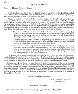 Six-Day War (1899) - The proclamation of the New Territories of Hong Kong by Colonial Secretary James Stewart Lockhart.