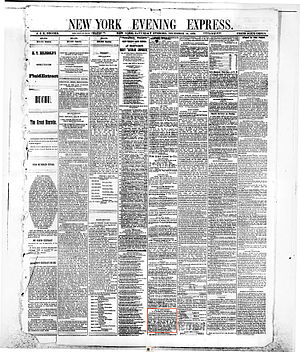 New York Evening Express - Front page of the New York Evening Express, Saturday, December 31, 1870