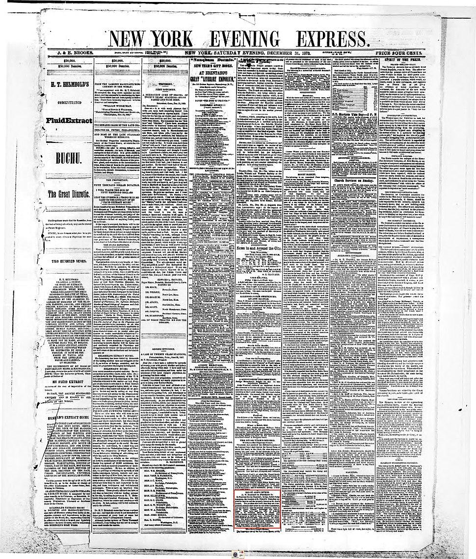 New York Evening Express 1870-12-31 p. 1