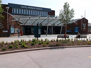 Derby railway station - Image: New facade at Derby station (2)