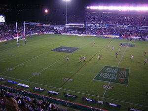 Newcastle Knights - McDonald Jones Stadium at night showing the old main grandstand