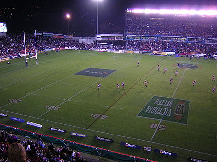 McDonald Jones Stadium, looking across at the Western grandstand and grass seating NewcastleKnights.jpg