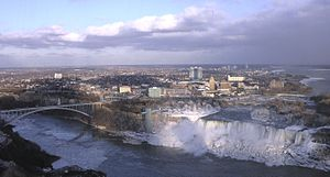 Niagara Falls, New York - The city of Niagara Falls. In the foreground are the waterfalls known as the American Falls and Bridal Veil Falls, respectively, from left to right.