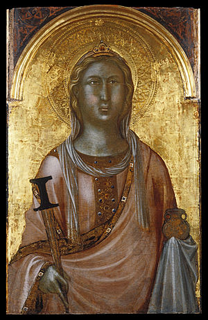 Saint Lucy - Saint Lucy, by Niccolò di Segna mid 14th-century Sienese painting, circa 1340. The saint holds the dagger with which she was ultimately executed and the lamp, her attribute.