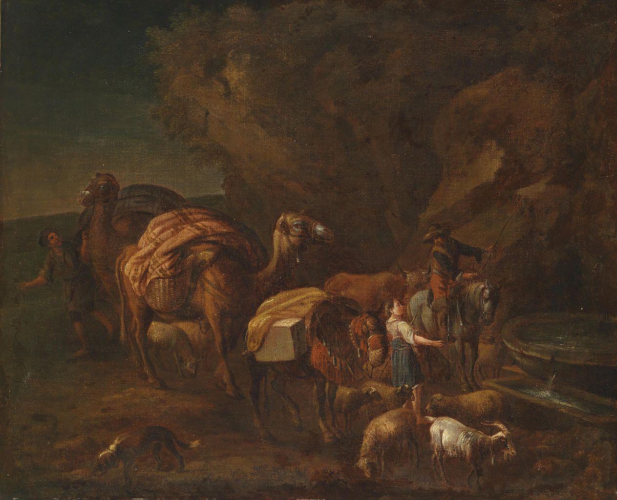 Orientalische Landschaft mit Kameltreibern und Viehhirten, by Nicolaes Berchem