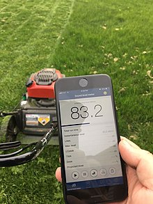 Noise level from a lawn mower measured using the NIOSH Sound Level Meter app