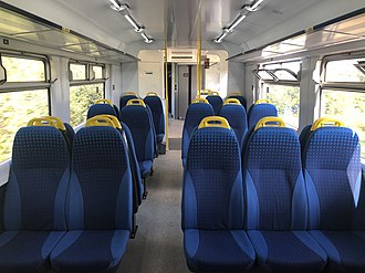 British Rail Class 150 - The refurbished interior of a Northern Class 150/1