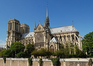French architecture - South side of the Cathedral Notre Dame de Paris, view from the Seine