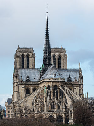 Notre-Dame de Paris - The spire and east side of the cathedral