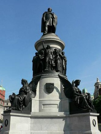 O'Connell Street - O'Connell Monument, the memorial to Daniel O'Connell, the 19th century nationalist leader, by sculptor John Henry Foley, which stands at the entrance to the street named after him.