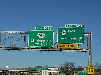 Oklahoma State Highway 9 - SH-9 East exiting from I-35 in Norman