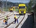 Olbramovice, rekonstrukce trati, kolejové stroje.jpg