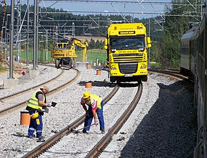 Single-line working - An example of single-line working: maintenance of way crews are working on two tracks (left) of a three-track line in the Czech Republic while a passenger train passes on the third track (right) in 2011.