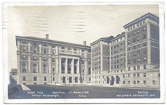 Columbia College, Columbia University -  Hamilton Hall (left), new home of Columbia College, and Hartley Hall, the College's first dormitory, in 1907