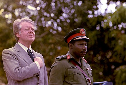 Carter with Nigerian leader Olusegun Obasanjo on April 1, 1978 Olusegun Obasanjo and Jimmy Carter-02.jpg