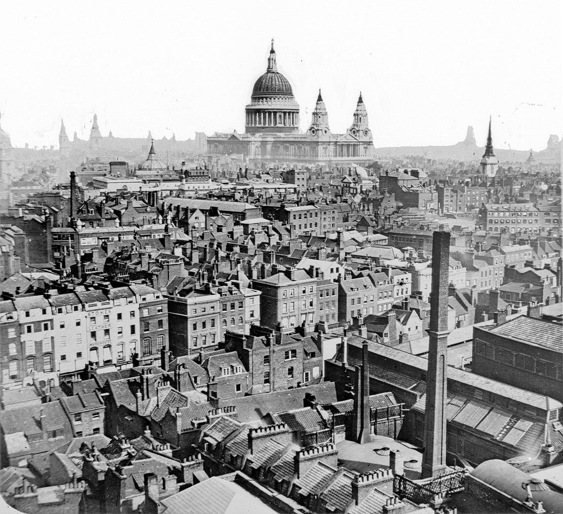 Toits de Londres et cathédrâle Saint Paul à Londres vers 1865.