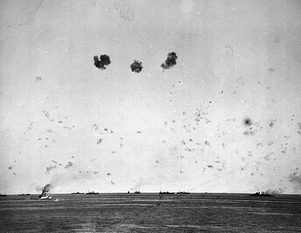 Convoy on its way to Malta under heavy air attack during Operation Pedestal, 11 August 1942.