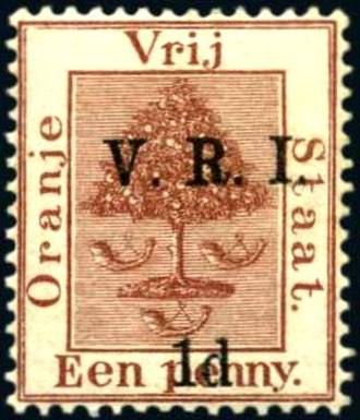 Postage stamps and postal history of the Orange Free State - A stamp of the Orange Free State overprinted V.R.I. in 1900 during the British occupation.