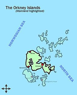 Map of Orkney Islands, mainland highlighted
