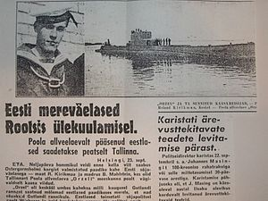 "Estonia in World War II - The Orzel incident covered in the Estonian newspaper ""Uus Eesti"" (New Estonia)."