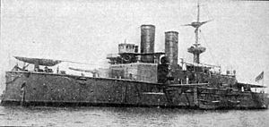 Naval operations in the Dardanelles Campaign - The Ottoman battleship Mesûdiye.