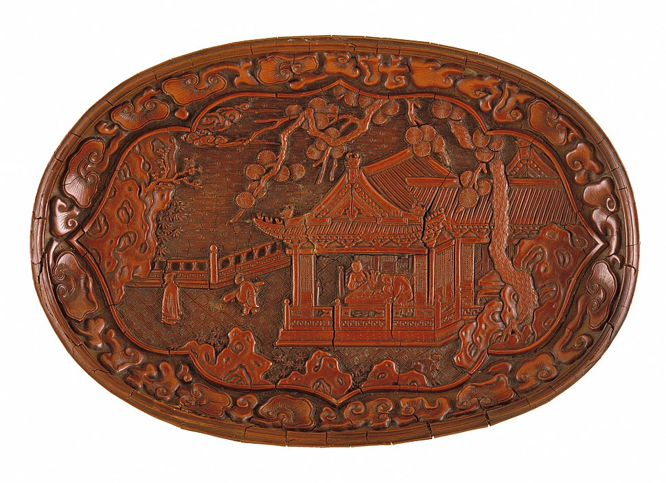 Oval Tray (Duoyuan Pan) with Pavilion on a Garden Terrace LACMA M.81.125.1
