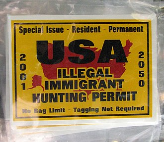 Opposition to immigration - Anti-illegal immigrant car sticker in Colorado