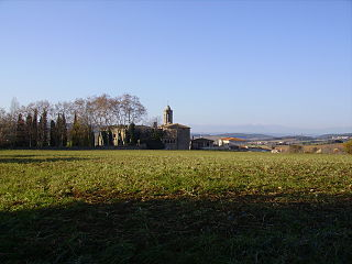 Púbol human settlement in La Pera, Baix Empordà, Girona Province, Spain