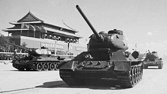 Tanks of North Korea - A Chinese T-34/85 medium tank, seen here parading on Beijing's Tiananmen Square