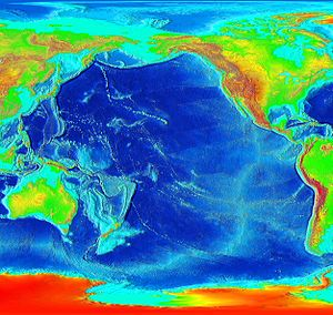 The Pacific is ringed by many volcanoes and oceanic trenches