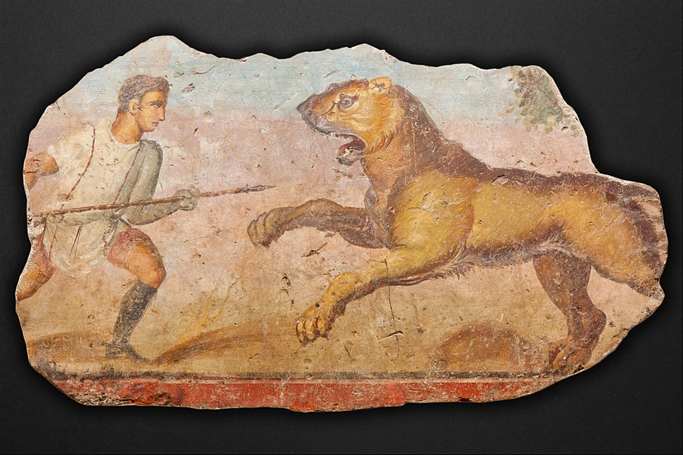 Painting from the Amphitheatre. Hunter with lioness - Google Art Project