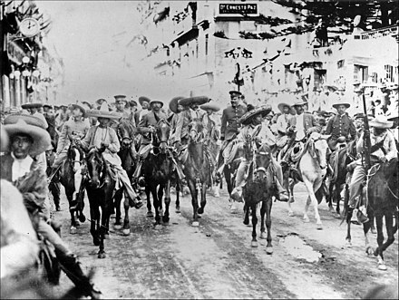 Zapata and Villa with their joint forces enter Mexico City on December 6, 1914. Pancho Villa y Emiliano Zapata2.jpg