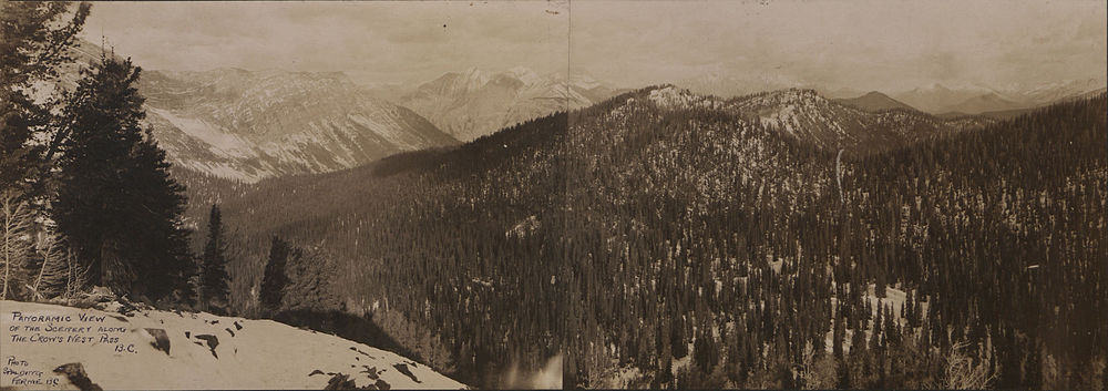 Panoramic view of scenery in the Crowsnest, 1908.