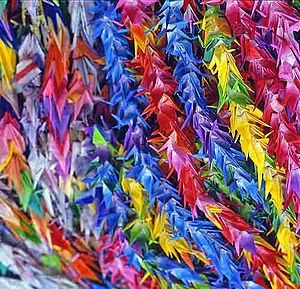 Paper cranes prayers for peace. Peace Memorial...