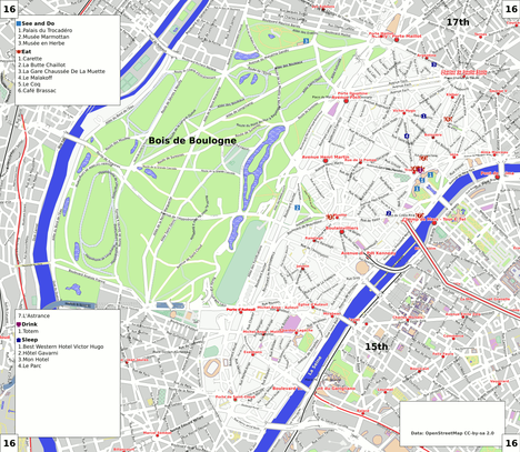 Map of Paris/16th arrondissement