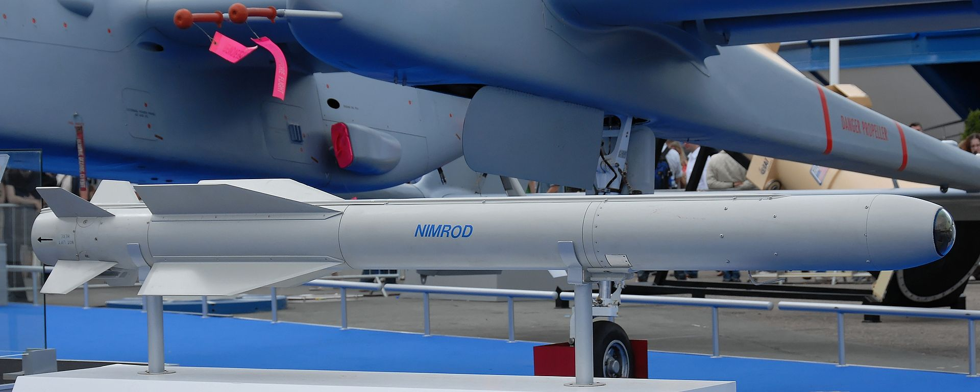 An IAI Nimrod anti-tank laser homing missile at the 2007 International Paris Air Show at the Le Bourget airport