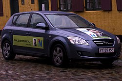 Party vehicle showing the People's Movement against the EU logo