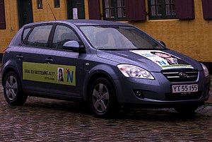 People's Movement against the EU - Car showing People's Movement against the EU election sticker