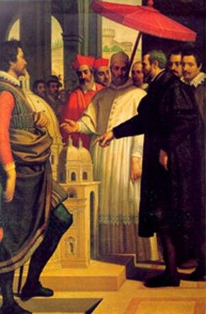 Modello - Michelangelo shows Pope Julius II his modellino of St Peter's in this 19th-century artist's impression