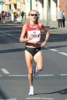 Paula Radcliffe, primatista mondiale di maratona femminile.