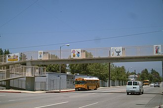 Peanuts - Peanuts-themed pedestrian overpass in Tarzana, Los Angeles, California