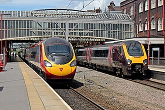 Stafford–Manchester line - A Virgin Class 390 and CrossCountry Class 221 at Stoke-on-Trent railway station