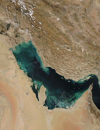 Piracy in the Persian Gulf - Persian Gulf from space.